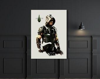 Green Arrow superhero Oliver Queen digital print design
