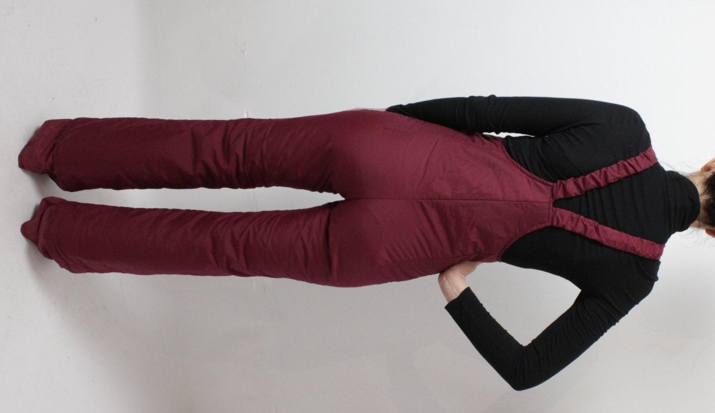 Vine Red Ski Pants Burgundy Jumpsuit Womens Ski Suit Winter