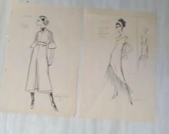 Vintage Fashion Design Concept Clothing Sketches (DESIGNER) ****1960's*******