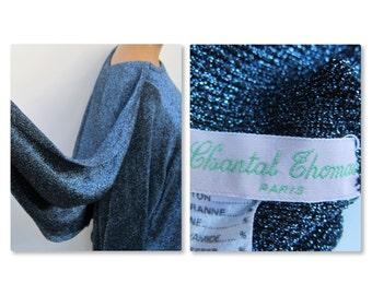 Chantal Thomass sweater Cape blue 1970's 1980's VINTAGE metal wire for Wonder Woman 40