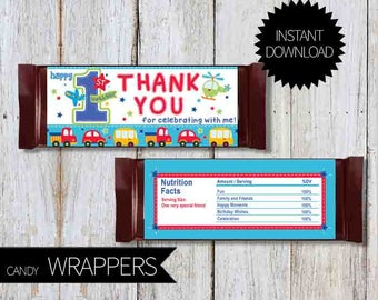 1st Birthday All Aboard Party PRINTABLE Candy Wrappers- Instant Download | First Birthday | Boy | Chocolate Wrappers