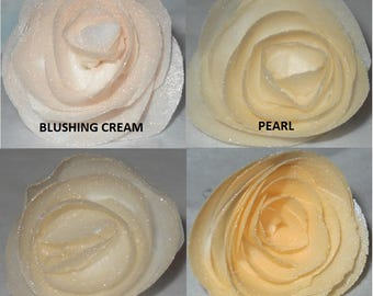 Edible Cake/Cupcake Wafer Flower Roses Weddings Anniversaries Showers choose your color Birthdays Cream Oyster Pearl Ivory Iridescence