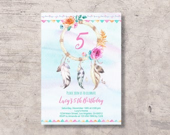 Boho Birthday Invitation Printable, bohemian tribal birthday party invite, editable pdf instant download, floral watercolor pink aqua green