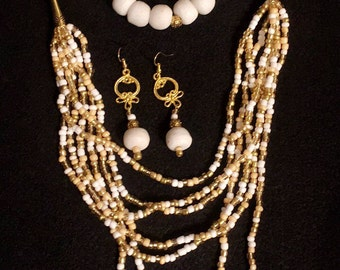 Necklace set made with clay beads and seed beads.