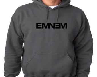 Eminem Logo Hoodie Classic Vintage Style Hip Hop Fleece Sweatshirt Slim Shady Dirty Dozen Detroit Hip Hop Rap New Marshall Mathers D 12