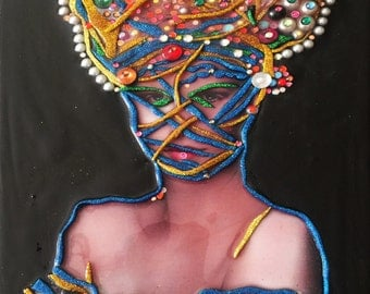 Fruits of Passion III - Hand embellished with acrylic on canvas and a collage of photography, pearls and Swarovski blingie beads