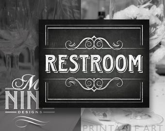 Chalkboard Printable Signs / RESTROOM / Sign Downloads, Chalkboard Party Printables, Chalk Wedding Sign, Chalk Party Sign BWC28