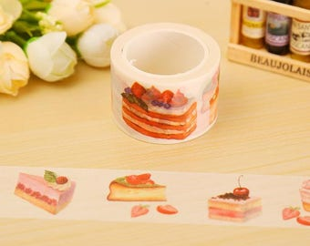 Washi Tape with Fruit Cake, Cute Washi Tape, Decorative Masking Tape, Perfect for DIY Projects, Bullet Journal, Notebook and Planners.