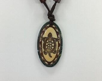 Oval Turtle Ceramic Necklace #082216.16