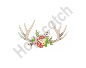 Deer Antlers And Flowers - Machine Embroidery Design