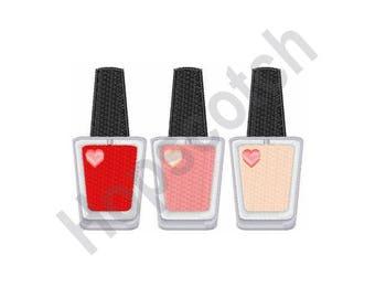 Nail Polish Manicure - Machine Embroidery Design