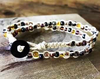 Beaded macrame wrap bracelet