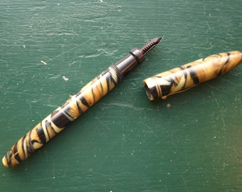 Vintage Bakelite Fountain Pen Marked ' A ' Tiger Eye Marble Design – Amber, Black, White Colors