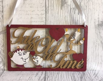 Beauty and the beast wall or door sign, childrens bedroom, wooden sign, hand painted