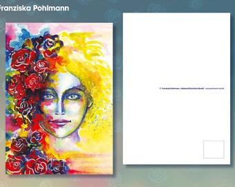Postcard 'Rose head'