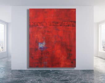 XL Red Abstract Painting / Modern Art / Contemporary Art / Extra Large Art / Abstract Art / Red Painting / Texture Painting