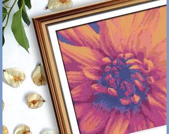 Floral Cross Stitch - Flower Lover Stitch - Orange Fire Dahlia - Modern Cross Stitch- Needlework Art  - Nature Cross Stitch - PDF Pattern