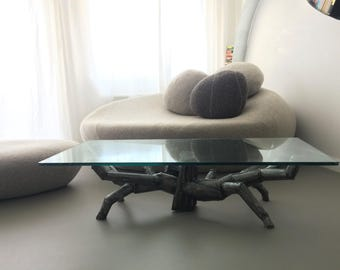 Unique Modern Vintage Design Glass top Coffee table by Sculptor Paul Badham