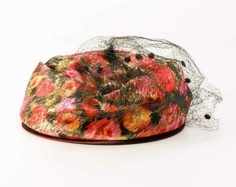 Vintage 1950's Union Made Pill Box Hat with Veil