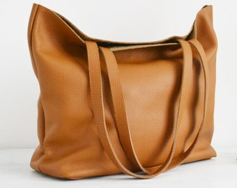 LARGE leather TOTE bag, Leather tote, Tote bag leather, Tote bag, Leather tote woman, Leather tote, Leather tote - ROME Bag - Tan Tote Bag