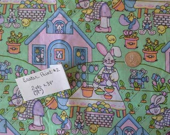 BUNNY VILLAGE Easter Print Material, 2 yards