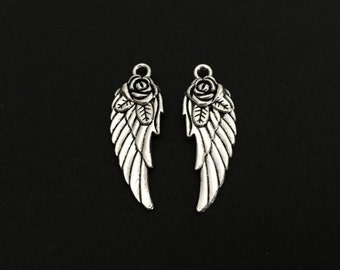 Angel Wing Charm. Lot of 10 / 20 / 30 / 40 / 50 / 100 PCS 2-Sided Angel Wing with Rose Pendants. Handmade Jewelry Supplies.DIY Craft Charms.