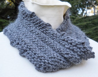 unisex hand knit grey wool mobius cowl
