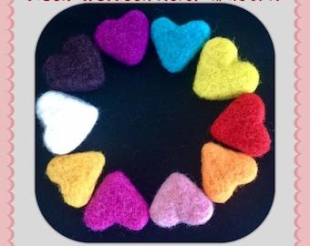 Needle Felted Hearts, Valentine Hearts, Handmade Hearts, Wool Hearts