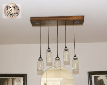 Mason Jars Light Fixture, Vintage Industrial Pendant Lamp, Wood Chandelier, Industrial Light, 5 pendants