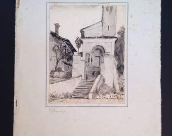Antique original ink wash painting of cityscape and church stairway in Pallanza Italy