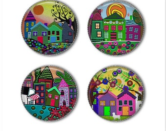 Funky Houses magnets or pins, whimsical magnets or pins, refrigerator magnets, fridge magnets, office magnets