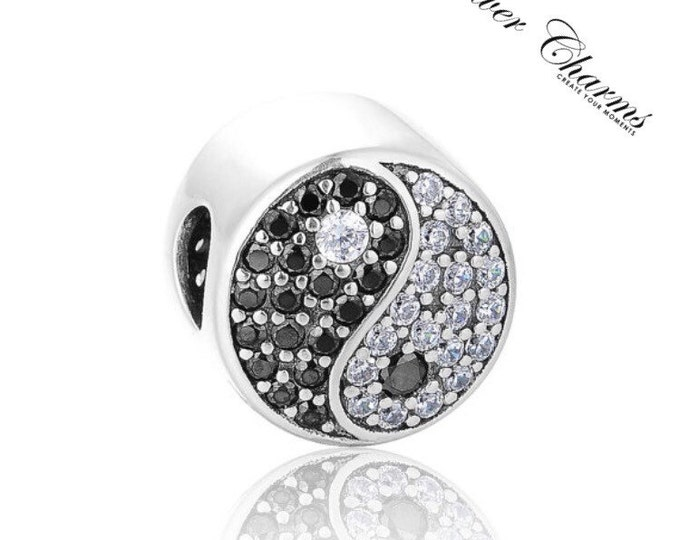 Yin and Yang Silver charm CZ