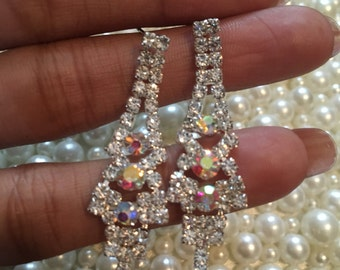 AB Crystal Dangle Jewel Earings// Free Shilling & Gift