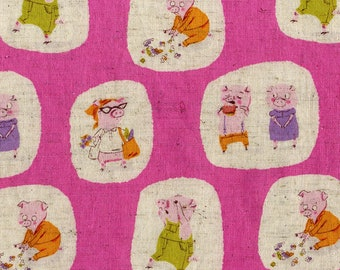 Nursery Versary, Piggies Pigs, Hot Pink, by Heather Ross, for Kokka, OOP, HTF, children fabric, fairytales fabric, FQ Fat Quarter, half yard