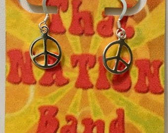 That NATION Band Sterling Silver Peace Earrings