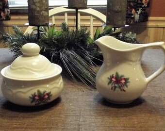 Red Ribbons by Pfaltzgraff Pottery, Creamer and Sugar Bowl Set