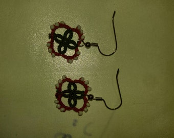 Hand tatted green and red with white beads earrings nickel free