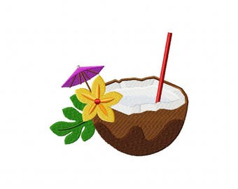 Tropical coconut pina colada drink embroidery design