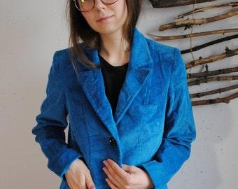 Vintage womens 1960s 1970s jacket sky blue velvet coat Green ICE