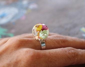 Nature flower resin ring