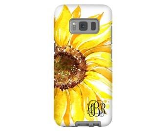 Sunflower Galaxy S8 case/Galaxy S8 Plus case, monogram Galaxy case, Galaxy S7 case/S7 Edge case, Galaxy S6 case, Google Pixel case