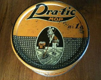 Beautiful antique tin box of Pra-tic mop, 1920s...