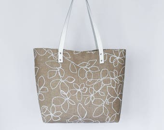 Natural Linen Tote Bag, Leather Handles Medium Tote Bag, Grey Linen Handbag, Beach Bag