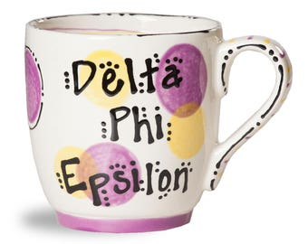 DPHIE  Delta Phi Epsilon Sorority Ceramic Hand Painted Mug.