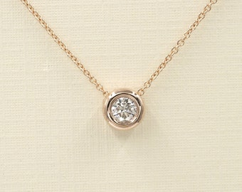 Diamond Necklace,0.15 Ct / 0.20 Ct. Diamond Bezel Necklace. Rose Gold Necklace.14k White,Yellow,Rose Gold dainty necklace.Simple Necklace