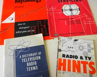 Vintage 1950's Television Repair TV Hints Dictionary Lot of Four Books