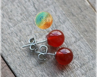 SALE! Red Agate Stud Earrings, Genuine Red Agate Earrings, Silver plated earrings,  Red Agate earrings,Gemstone earrings,Strong PROTECTION!