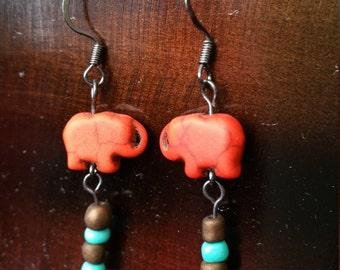 Red/Orange Elephant Earrings