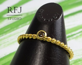 Natural Smoky Quartz Rope Gold Ring, 2 mm Round Cut Smokey Quartz 24K Yellow Gold Plated Twisted Ring, Smoky Quartz Braided Gold Plated Ring