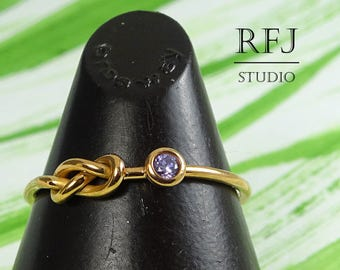 14K Rose Gold  Lab Amethyst Infinity Knot Ring, February Birthstone Purple CZ 2 mm Double Knot Love Rose Gold Ring, Promise Ring
